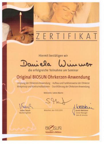 Biosun Zertifikat