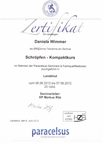 Paracelsus Zertifikat